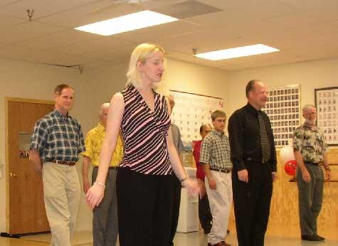Linda teaching - who's the blonde?