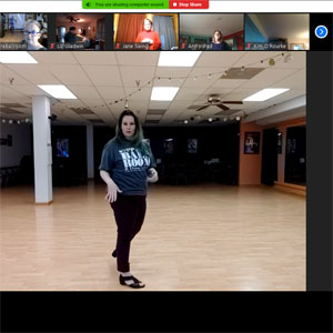Lisa teaching Line Dance on Zoom